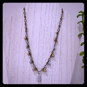 Liz Palacios Agate, Pearls, Crystal Necklace